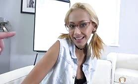 Nerdy blonde fucks like a Pro