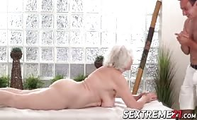 Horny granny    Norma needs young hard cock on a massage tabl